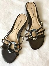 GIOVANNA LOVELY LEATHER SLIDES/SANDALS, SZ 7, OPAL EFFECT FEATURE, RRP $109.95!