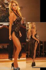 black lace long nightdress nightgown halter neck lace up sides floor length