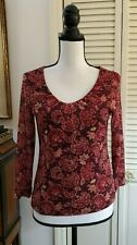 Sigrid Olsen Sport Shirt Top Sz M Burgundy Floral