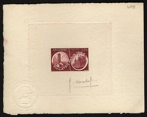 French Andorra Scott 158 Philatec Paris 1954 SIGNED  Artist  Proof on card