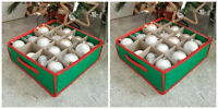 2x Christmas Tree Bauble/Decorations Storage Boxs Holds 16 Baubles Zip Fastening