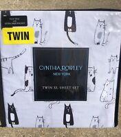 New Cynthia Rowley Cats Kitty Twin XL Sheet Set Extra Deep Pockets College Dorm