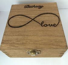 Legno personalizzati gioielli Memory Box 12 cm Infinity Simbolo Ricordo Natale