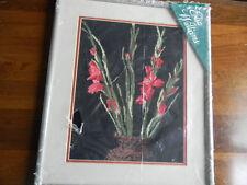 Framed Elsa Williams Wool Needlepoint GLADIOLA VASE Flower 16x19  JCA New