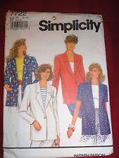 Simplicity Pattern 7722 Uncut Size H (6-8) Ladies Jacket