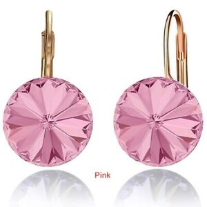 Exquisite Gold Plated Round Pink Zircon Dangle Drop Earring Thanksgiving Jewelry