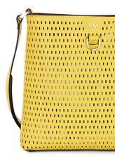 KAREN MILLEN YELLOW PERFORATED HANDBAG TOTE SHOULDER CROSS BODY BAG NEW!!!