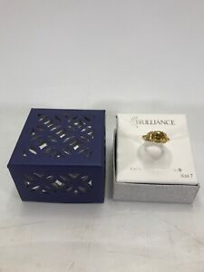 Brilliance Ring Crystals from Swarovski Gold with Yellow Stones Size 7 NEW W BOX
