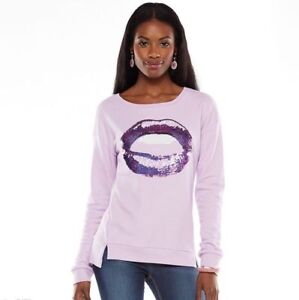 NWT JUICY COUTURE Sweatshirt Graphic Sequin Top Purple with Lips Women xs s