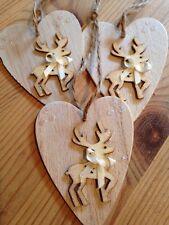 3 X Christmas Decorations Handmade Rustic Nordic Reindeer Real Wood Cream