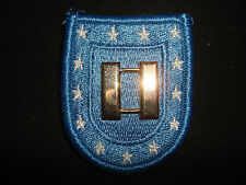US Army Beret Patch + CAPTAIN Rank Metal Badge With Clutchback Pins