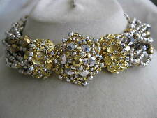 BARRERA Ornate Goldtone 12 Strand Silver Gold Crystal Choker Necklace -- Signed