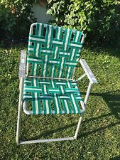 ALUMINUM Folding Lawn Chair  Webbed Patio Green and White