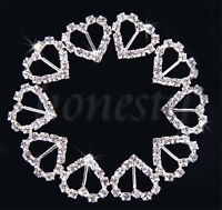 2~50X Heart Rhinestone Diamonte Ribbon Buckle Buckles Slider Wedding Stationery