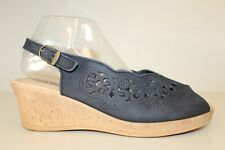 Spring Step Womens Black Pep Toe Slingback Sandals Shoes Sz 9.5 - 10 / 41 Italy