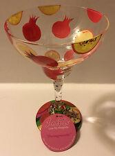 Lolita Pomegranate Hand Painted Margarita Glass w/ Recipe on Bottom 12 Oz NIB