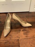 Stuart Weitzman Tan Patent Leather Classic Pumps Heels, Size 8.5