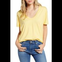 NEW Adriano Goldschmied AG Knits Yellow Henson Scoop Neck Tee Size Small S