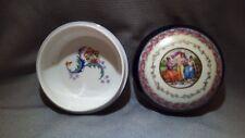 Vintage Antique Germany Porcelain Rose Trinket Box w/lid Gold Marked Crown 1867