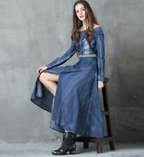 Embroidery Denim Skirt Vintage Long-sleeved Dress Maxi skirt Off-Shoulder Women