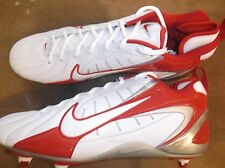 New Nike Super Speed D white/game red low cut cleats Mens sz15 lacrosse #38