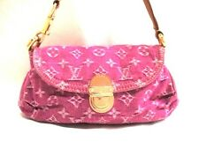 Authentic LOUIS VUITTON Monogram Denim Mini Pleaty M95216 Fuchsia Shoulder Bag