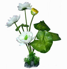 1x Aquarium Deco Artificial Plant Tree Decoration Water Lily White Leaves