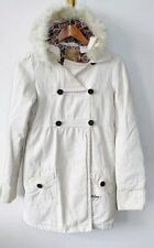 Billabong Ivory Coat Jacket Removable Fur Hood Peacoat Canvas Womens Size XSmall
