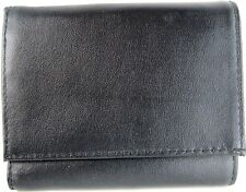 Men Leather Tri-Fold Wallet Black.  CAC 43