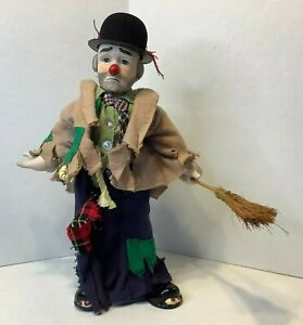 "Vintage 13"" Clyde Dynasty Clown Sad Hobo w/ Broom Porcelain Doll w/ Stand"