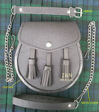 3 Tassels Quality Black Cowhide Leather, Scottish Kilt Sporran + Belt Set