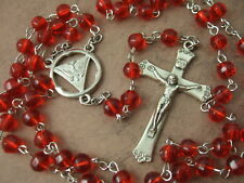 Catholic Rosary Holy Spirit Confirmation Medal 6mm Red Glass Beads