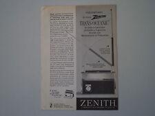 advertising Pubblicità 1963 RADIO ZENITH TRANS-OCEANIC