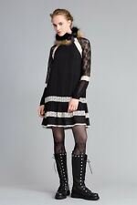 TwinSet dress black and whiteShort georgette and lace dress with contrast lace