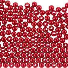 Finta Perla Acrilico Perline ROUND 6 mm Oro lucido rosso intenso Confezione da 200 (F69/1)