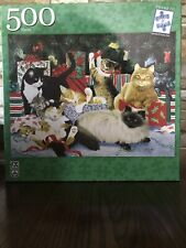 """Kitty Christmas Party 500 Piece Puzzle FX Schmid 18"""" By 24"""" Artist Linda Picken"""