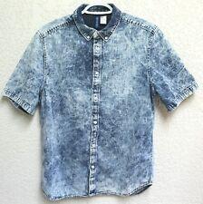 H&M Divided Light Wash Denim Button Down Medium Shirt Jean EUC