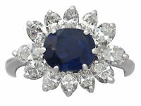 1.85 ct Sapphire and 1.56 ct Diamond, 18 ct White Gold Dress Ring - Vintage