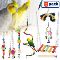 8x Bird Parrot Toys Hanging Bell Pet Cage Hammock Swing Parakeets Conures Macaws