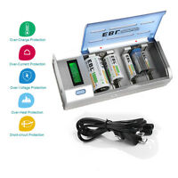 EBL LCD Smart Charger For 9V AA AAA Ni-MH Ni-Cd C D Size Rechargeable Battery US
