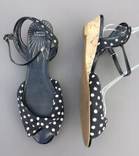 M&S 6 39 Black Wedge Sandals Summer Comfort Spotted Cute Rockabilly