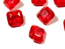 Lot (9) large 18mm Czech vintage square faceted red glass rhinestones