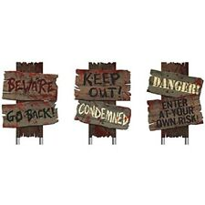 Halloween Pack of 3 Warning Sign Wall Decor Scary Haunted House Decoration Party