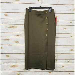 Love Scarlett Brown Button Up Midi Wrap Style Stunning Pencil Skirt Size M