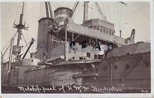 Midships view of HMS Hindustan Posted by Henry Heale Portsmouth 1913