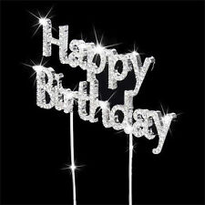 New HAPPY BIRTHDAY CAKE PICK TOPPER DECORATION DIAMANTE SPARKLY CRYSTAL SILVER