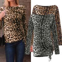 Women Leopard Print Basic Stretch Tee T Shirt Tops Plus Size Long Sleeve Blouse