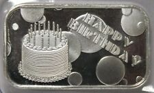 2018 Happy Birthday Cake & Balloons .999 Silver Art Bar Medal - 1 oz Troy Gift