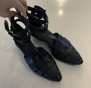 Alexander Wang Abbey Caged Black Leather Sandals Rare Shoes Size 40 Nail Ankle