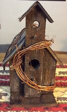New listing wooden outdoor bird house With Tin Roof And Hanging Chain In Good Condition